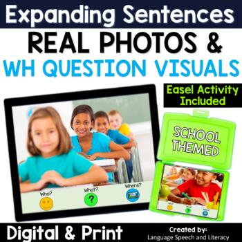 No Print Speech Therapy Expanding Sentences with Real Photos |Teletherapy