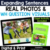 No Print Speech Therapy Expanding Sentences | Real Photos |Summer