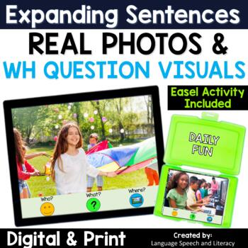 No Print Speech Therapy Expanding Sentences with Real Photos   Middle School