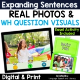 No Print Speech Therapy Expanding Sentences with Real Photos | Teletherapy