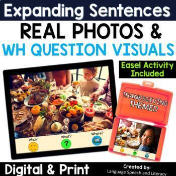No Print Speech Therapy Expanding Sentences with Real Photos | Thanksgiving