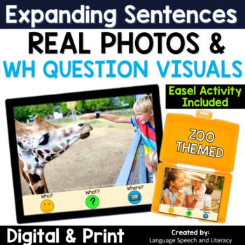 No Print Speech Therapy Expanding Sentences with Real Photos | Zoo Animals