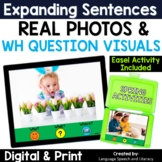No Print Speech Therapy Spring Expanding Sentences with Real Photos