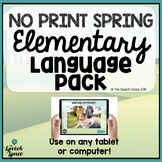 No Print Spring Elementary Language Pack | Teletherapy | D