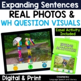 No Print Speech Therapy Spring Expanding Sentences | Real Photos | Teletherapy