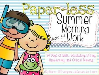 No-Prep Summer Morning Work