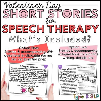 No Print Valentine's Day Speech Therapy: Comprehension Stories