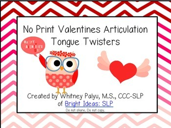 No Print - Valentine's Articulation Tongue Twisters