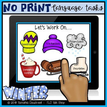 No Print: Winter Receptive and Expressive Language Tasks