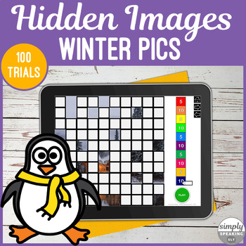Winter 100 Trials No Print Hidden Images Game for Speech and Articulation
