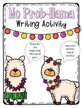 No Prob-Llama Beginning or End of Year Writing Activity