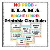 No Prob Llama - Bright Stripe Printable Class Rules Decor