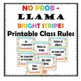 No Prob Llama - Bright Stripe Printable Class Rules Decor