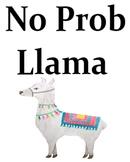 No Prob llama - Llama watercolor poster