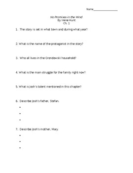 No Promises in the Wind Chapter One Worksheet
