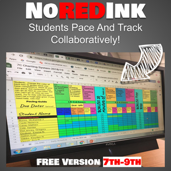 No Red Ink Google Sheet Collaborative Whole Class Tracker ...