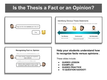 """No Red Ink """"Is the Thesis a Controversial Opinion?""""  Slideshow with 2 Kahoots!"""