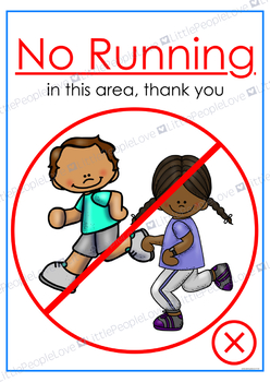No Running/Walking Only Classroom Posters