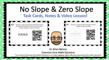 No Slope & Zero Slope (Task Cards, Notes & Video Lesson)