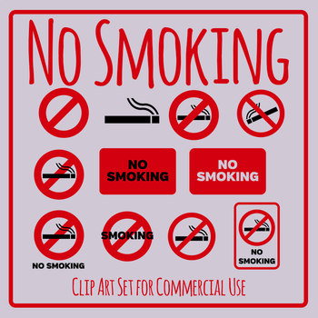 No Smoking Signs / Symbols Clip Art Set for Commercial use