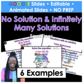No Solution and Infinitely Many Solutions Equations Google Slides