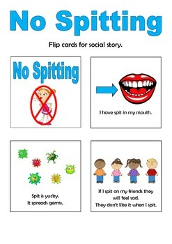 No Spitting Social Story Flip Book