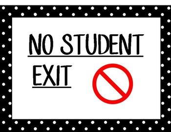 No Student Exit Door Sign
