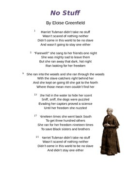 """""""No Stuff"""" by Eloise Greenfield - Harriet Tubman Poem and Questions"""