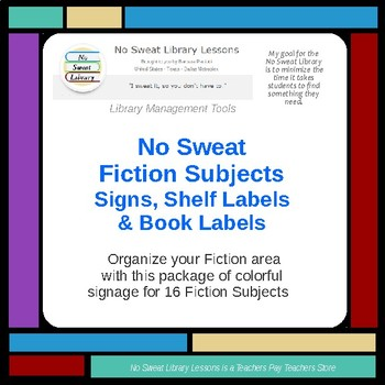 NoSweat Fiction Subjects Book Labels, Shelf Labels, and Signs