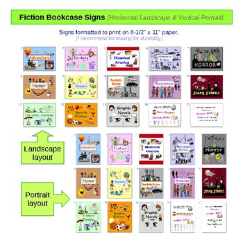 NoSweat Fiction Subjects (genre) Signs, Shelf Labels & Book Labels