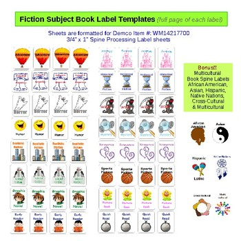 NoSweat Library Fiction Subjects (genre) Signs, Shelf Labels & Book Labels