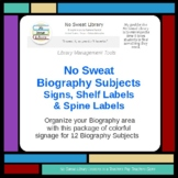 No Sweat Library Management: Biography Signs, Shelf Labels