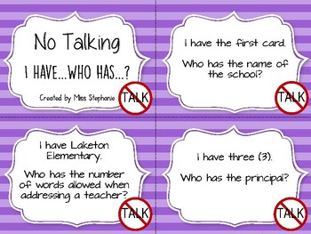 No Talking by Andrew Clement - I Have Who Has?