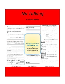 No Talking - Clements - Complete Literature and Grammar Unit