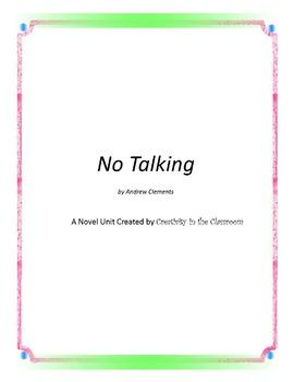 No Talking Novel Unit Plus Grammar