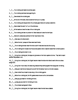 No Talking by Andrew Clements 35 Question Test