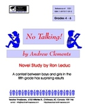 No Talking by Andrew Clements: Novel study for Grades 4-7