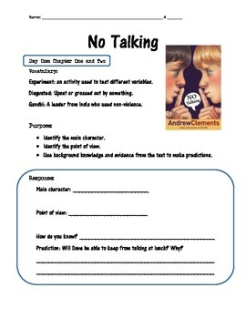 No Talking by Andrew Clements Reading Group