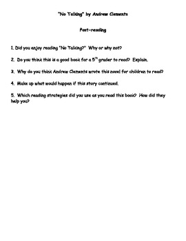 """""""No Talking"""" by Andrew Clements Reading Response Questions"""