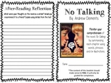 No Talking by Andrew Clements Summarizing Booklet