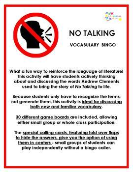 No Tallking Vocabulary Bingo