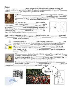 No Taxation Without Representation Fill in the Blank Notes Lesson