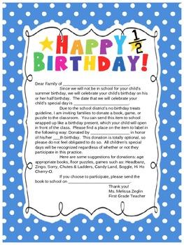 No Treat Class Birthday Letter