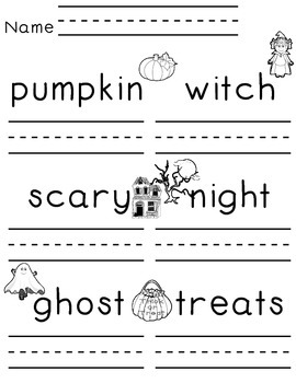 No Trick...All Treat  * Writing Practice for your little ones * Halloween