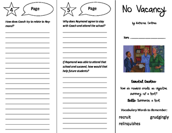 No Vacancy Trifold - ReadyGen 6th Grade Unit 3 Module B