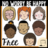 No Worry Be Happy COVID-19 Children Clipart - Freebie