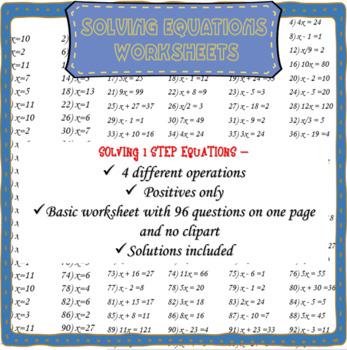 No frills one step equations worksheet (no negatives)
