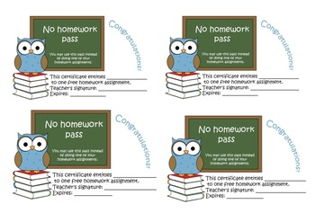 No homework pass (reward card, gift card)