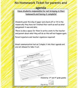 No homework warning ticket for student - teacher - parent communication