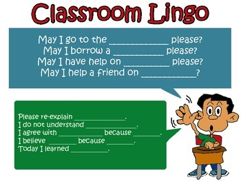 "No more, ""Huh?"" or ""yeah."" Classroom Lingo Sentence Stems!!"